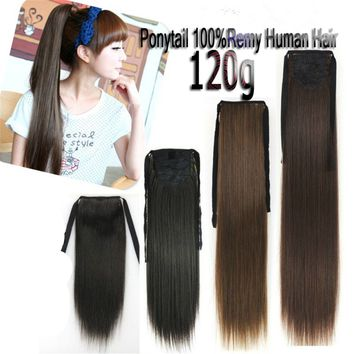 120g 55cm~70cm Virgin Remy Ponytail Clip In Real Human Hair Extension Any Colors
