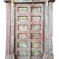 Antique Indian Architectural Earthing Hand Carved Exterior Double Doors Solid Teak Front Door With Carved Frame Commercial Design