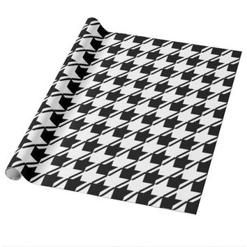 Black White Houndstooth Wrapping Paper