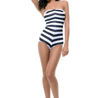 Black & White Striped Barbie One Piece Swimsuit - Unique Vintage - Prom dresses, retro dresses, retro swimsuits.
