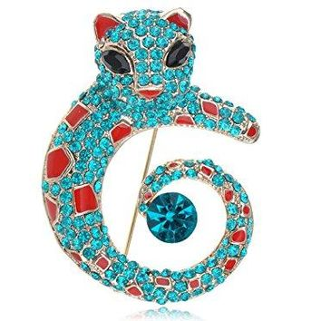 Alilang Womens Golden Tone Turquoise Blue Colored Rhinestones Cat Leopard Brooch Pin