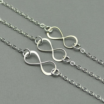 Silver Infinity Necklace SET OF THREE , Bridesmaid Gift, Eternity Friendship Best Friend Necklace, Sterling Silver Jewelry Handmade