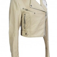 Lily Boutique Bridget Vegan Leather Moto Jacket in Beige - TOPS Lily Boutique