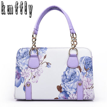 Classic Women's Flower Leather Shoulder Bag