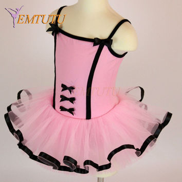 Pink Black Ribbon Edged Dance Costume Children Tutu Girl Ballet Clothing Ballet Clothes Kids Leotard Skirt Ballet Dress