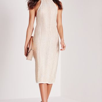 Missguided - Metallised Halter Midi Dress White