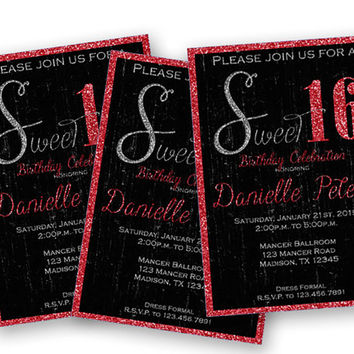 Grunge Red Glitter Sweet 16 Birthday Invitations - Trendy Sweet 16 Party - Red and Black - Elegant Faux Glitter - Crimson - Sweet Sixteen