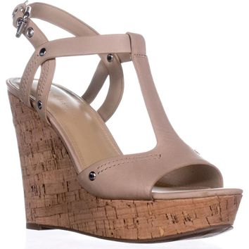 Marc Fisher Helma Platform Wedge Sandals, Light Natural, 7.5 US
