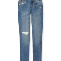PS from Aero  Girls Medium Wash Destroyed Skinny Jeans (Regular)