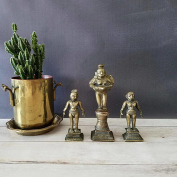Brass Fertility Statues/ Fertility Figures/ Fertility Statue/ Hindu Art/ Hindu Goddess/ Fertility Goddess/ Goddess/ Triptych/ Brass Decor