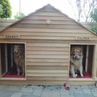 Goliath Cedar Duplex Dog House - Dog Houses - Blythe Wood Works Dog Houses, Cat Houses, and Pet Accessories