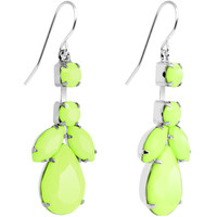 Faux Pale Green Stone Neon Leaf Vine Dangle Earrings | Body Candy Body Jewelry