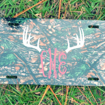 Camo License Plate with Custom Monogram  ~Personalized ~Four Colors