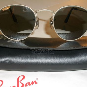 46mm SMALL SIZE B&L RAY BAN W2465 G31 MIRROR ROUND SILVER AVIATOR SUNGLASSES NEW
