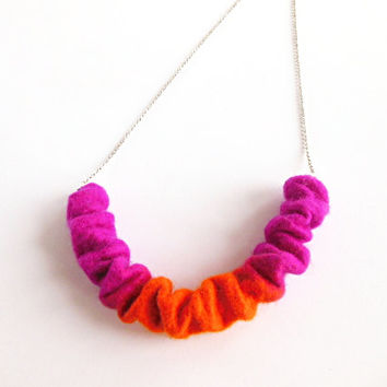 Felted necklace  pendant necklace, hand felted  felt, orange pink chain necklace