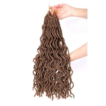 Dairess (6 Packs) 18 Inches 24Roots Wavy Faux Locs Crochet Hair Janet Collection Curly Faux Locs Wavy Dreadlocks Crochet Braids Synthetic Hair Extensions (#30,6 Packs)
