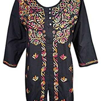 Mogul Womens Indian Tunic Blouse Cotton Button Front Black Chikankari Embroidered Top Shirt