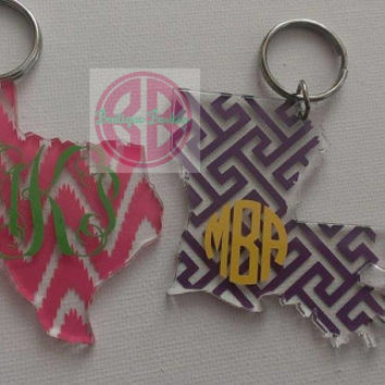 Acrylic Texas or Louisiana State Monogram Keychain