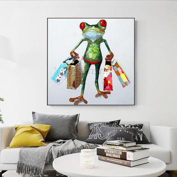 Green Frog Acrylic Painting On Canvas art Modern abstract Pop Art Animal painting extra large wall pictures cuadros abstractos palette knife