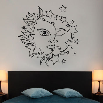Stars Wall Decal Vinyl Bedroom Night Sun and Moon Art Ethnic Sticker Decor SM173