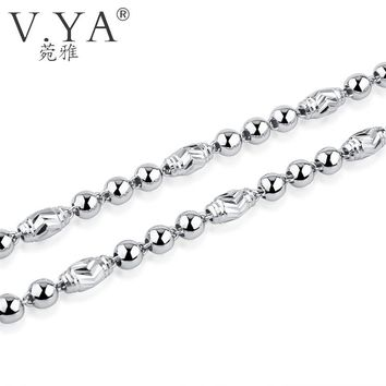 V.YA 100% 925 Sterling Silver Ingot Chain Necklaces for Women Men 5MM Beads Chain Solid Silver Heavy Thick Chains fit Pendant