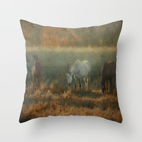3 Horses Throw Pillow by Tanja Riedel