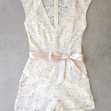 Sweet Ivory Lace Romper [6881] - $52.00 : Feminine, Bohemian, & Vintage Inspired Clothing at Affordable Prices, deloom