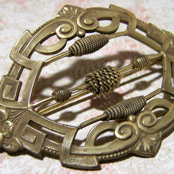 Antique Art Nouveau Sash Brooch, Gold Tone, Twisted Wire Bead Embellishment, Floral Highlights Pin 218s