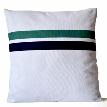 Decorative Pillow Cover White Cotton Canvas With Geometric Stripes Nautical Beach
