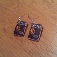 Hunger Games Mini Book Dangly Earrings by richtdy on Etsy