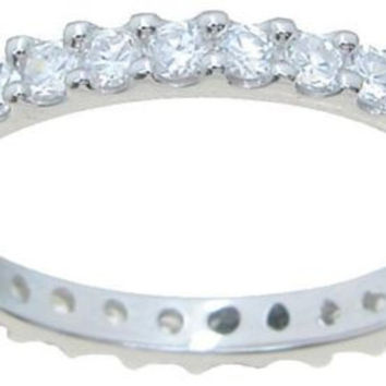 Women's 1 Ct Cubic Zirconia Wedding Eternity Band Ring 925 Sterling Silver