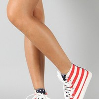 Candice-6 Canvas American Flag Round Toe Lace Up Sneaker