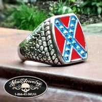 'Heritage Not Hate' Steel Confederate Flag Ring (388)