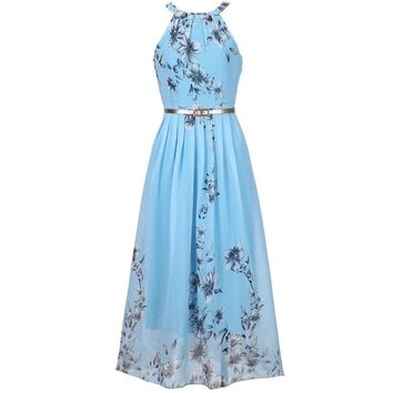 Floral Print Halter Chiffon Boho Maxi Summer Beach Dress