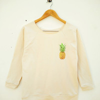 Pineapple Tshirt Teen Hipster Graphic Funny Shirt Pocket Shirt Wide Neck Sweatshirt Women Sweatshirt Off Shoulder Long Sleeve Sweatshirt