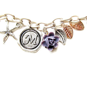 Monogrammed Flower Charm Bracelet Wax Seal Antique Silver Letter of your choice