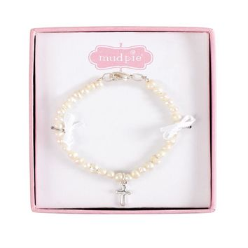 Pearl Bracelet with Silver Cross