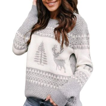 Grey White Reindeer and Christmas Tree Sweater