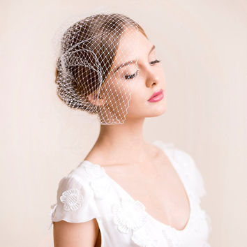 Bridal Birdcage Veil - Wedding Birdcage Veil of Russian Veiling - Big Size Birdcage Veil - Ivory, White - Bridal Hair Accessory