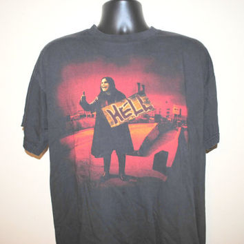 90's Ozzy Osbourne Vintage Classic Image Hell Sign Heavy Metal Rock Legend Concert Tour T-Shirt