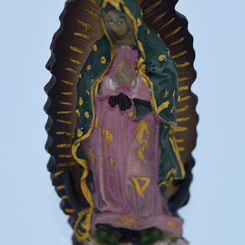 Virgin of Guadalupe Baby Jesus Miniature Relic Vintage Virgin Mary Jesus Mini Pocket Statue Car Auto Dashboard Travel Pocket Shrine Catholic