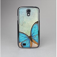 The Vivid Blue Butterfly On Textile Skin-Sert Case for the Samsung Galaxy S4
