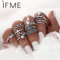 10 pcs/Set Elephant Moon Retro Boho Gold Color Ring Set Arrow Midi Mid Finger
