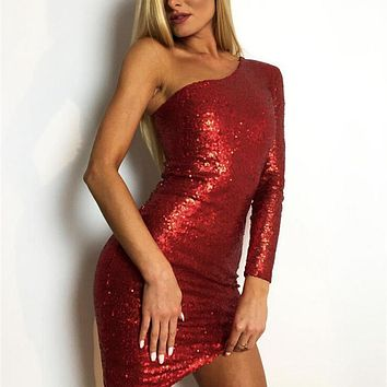 Women Sexy One Shoulder Long Sleeve Sequins Bodycon Cocktail Party Slim Club Mini Dress