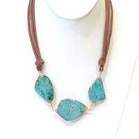 Take Care Turquoise Stone Statement Necklace
