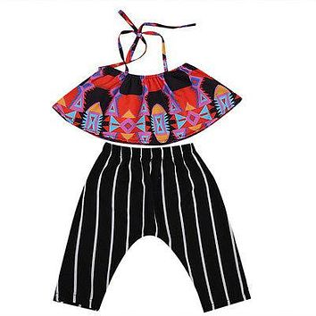 2pcs Kid Girls Clothing Set Infant Kids Baby Girls Floral Halter Tops Vest+ Striped Long Pants Outfits Clothes Sun-suit Clothing