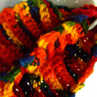 Bright Cowl Scarf Crochet Rainbow