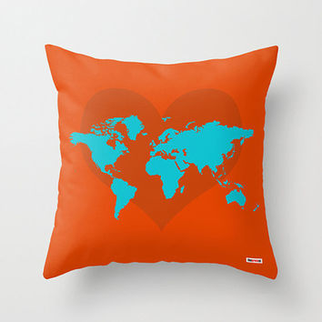 Map Throw Pillow Cover -World map Pillow Cover - Heart Cushion - Modern Pillow - Orange pillow - Modern pillow - Decorative throw pillow