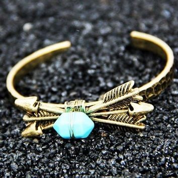 Arrow Bullet Bracelet with Stone in Turquoise or Jade White