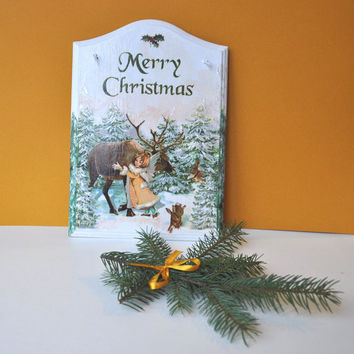 Merry Christmas wall hanging, Christmas gift, wall decoration, Xmas decor, home, front door sign, hanging board, housewarming gift.
